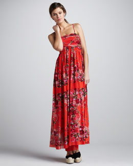 Jean Paul Gaultier Floral-Print Coverup Maxi Dress