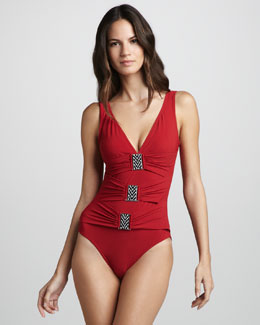 Karla Colletto Bead-Buckle One-Piece Swimsuit
