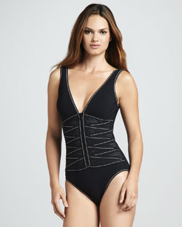 Karla Colletto Perforated Zip-Front One-Piece