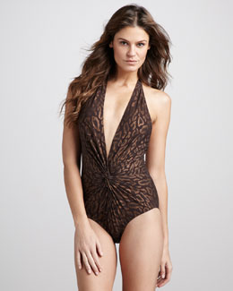 Karla Colletto Twist-Front One-Piece Swimsuit