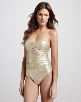 Karla Colletto Metallic Ruched One-Piece