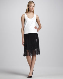 Elie Tahari Helena Pleated Sequined Skirt