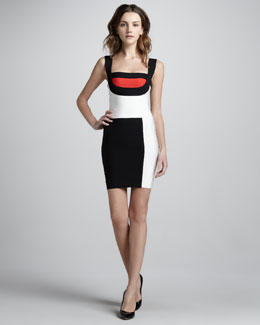 Herve Leger Mondrian Colorblock Bandage Dress