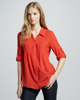 Joie Pinot Double-Pocket Blouse, Cherry