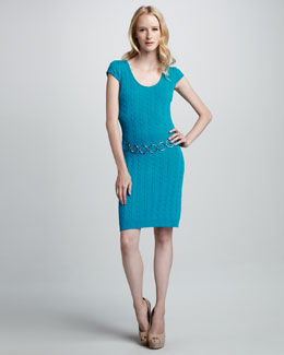 Milly Cable-Knit Chain Dress, Aqua