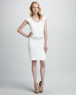 Milly Cable-Knit Chain Dress, White