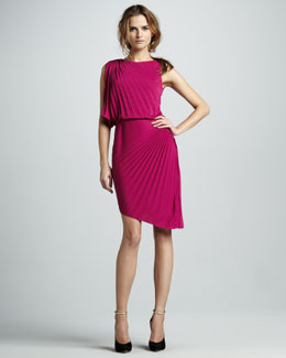 Halston Heritage Pleated Asymmetric Dress