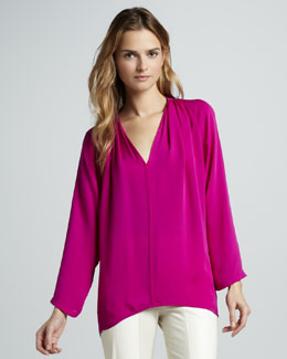 Halston Heritage Long-Sleeve Loose Blouse