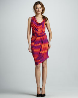 Halston Heritage Printed Draped Dress