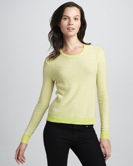 Rebecca Taylor Neon Striped Cashmere Sweater