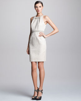 Carmen Marc Valvo Brocade Halter Cocktail Dress