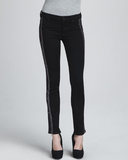 Hudson Tamara Skinny Embroidered Pewter Jeans