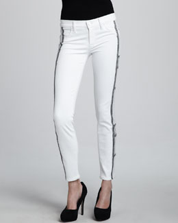 Hudson Tamara Skinny Embroidered White Jeans