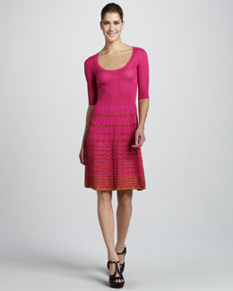 M Missoni Wave-Stripe Half-Sleeve Dress