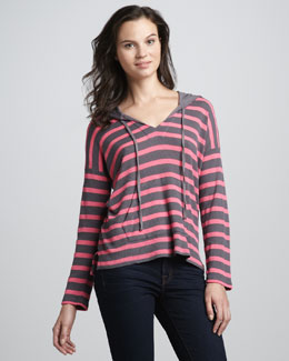 Splendid Striped Thermal Pullover Hoodie