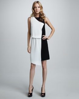 Tibi Asymmetric Colorblock Dress