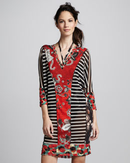 Jean Paul Gaultier Mixed-Print Tulle Coverup Tunic