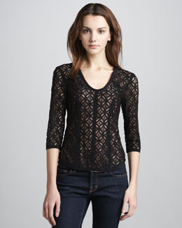 Nanette Lepore Fillmore Fitted Lace Top