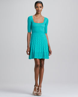 M Missoni Half-Sleeve Wavy Knit Dress