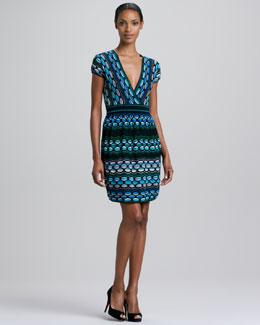 M Missoni Puckered Wave Stripe Dress