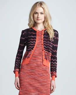 M Missoni Two-Tone Wave-Stripe Cardigan