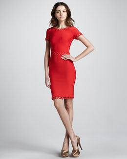 Herve Leger Cutout-Trim Fitted Dress