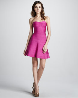 Herve Leger Strapless Flared Bandage Dress