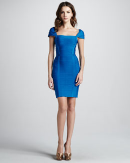Herve Leger Square-Neck Cap-Sleeve Bandage Dress