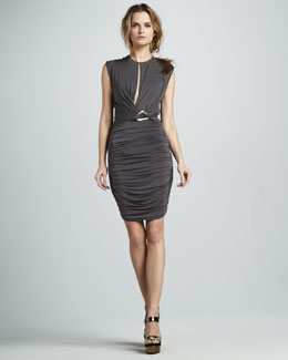 Halston Heritage Front-Slit Ruched Dress
