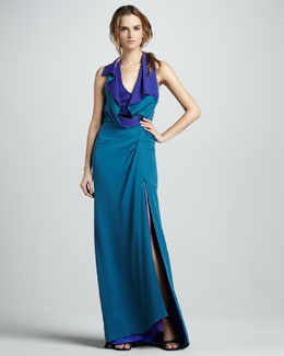 Halston Heritage Layered Two-Tone Halter Gown