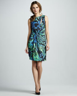 Halston Heritage Printed Front-Slit Dress