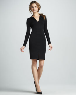 Halston Heritage Slim Long-Sleeve Ponte Dress