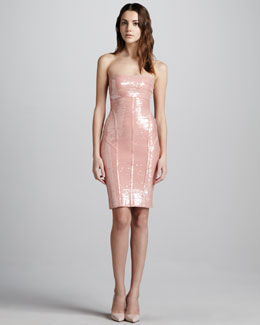 Herve Leger Sequined Strapless Bandage Dress