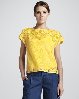 Alice + Olivia Gloriane Loose Lace Top