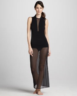 Norma Kamali Sheer Open-Back Coverup