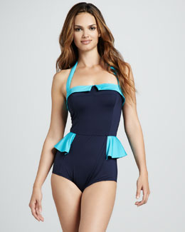 MARC by Marc Jacobs Colorblock Ruffle Maillot