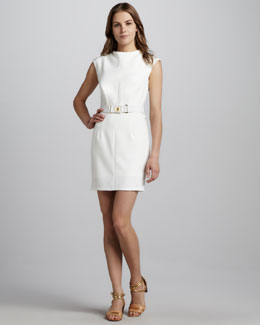 Milly Daphne Belted Dress, Ecru