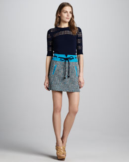 Milly Roberta Tweed Belted Skirt