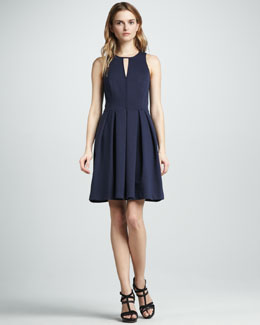 Rebecca Taylor Pleated Keyhole Dress