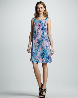 Rebecca Taylor Aurora Floral-Print Silk Shift Dress