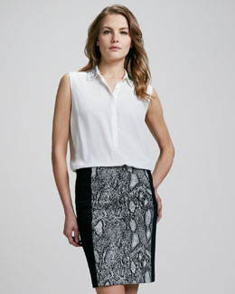 Rebecca Taylor Python-Print Pencil Skirt