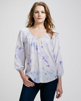 Rebecca Taylor Hawaii Printed Silk Blouse
