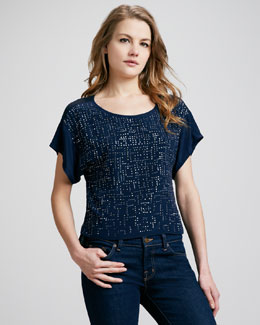Rebecca Taylor Sequined Short-Sleeve Tee