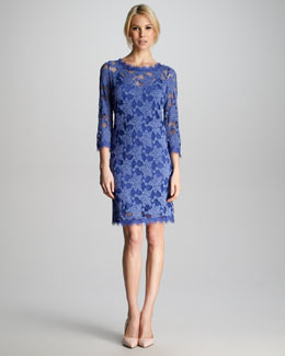 Rebecca Taylor Lace Scalloped Shift Dress