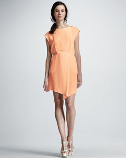 Tibi Cap-Sleeve Asymmetric Silk Dress