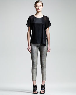 Helmut Lang Rift Stretch-Leather Leggings