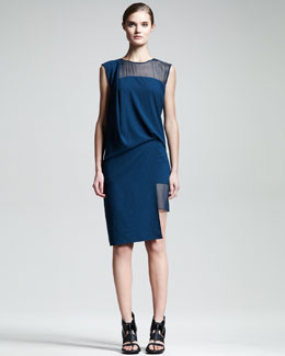 Helmut Lang Fluid Crepe Illusion Dress