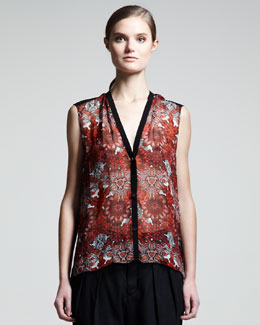 Helmut Lang Mandala-Print Sleeveless Top