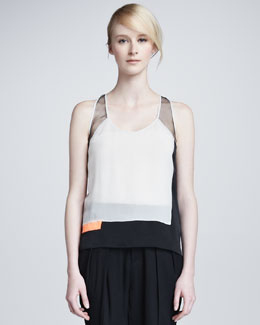 Helmut Lang Chroma Draped Colorblock Top