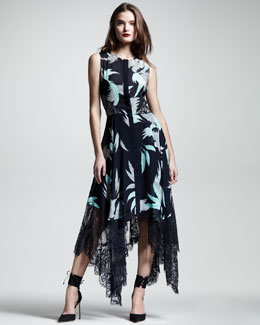 Wes Gordon Swan-Print Lace-Hem Dress